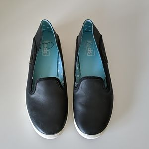 Ked's Leather Black Slip On Sneakers 6.5